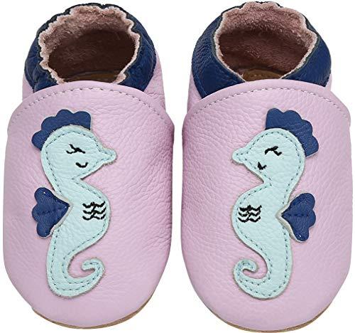 Yavero Primeros Zapatos Bebés Zapatillas de Andar por Casa para Bebés Zapatillas de Cuero Niñas Niños - Cómodas Blanditas y Ligeras, Caballo Rosa, 12-18 Meses