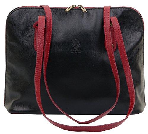 Primo Sacchi® morbida pelle nera e rossa italiana Manico lungo Borsa a tracolla borsa, include un marchio di custodia protettiva