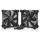 ANEXT, 120mm USB Fan, 120mm Fan, Silent Fan for Receiver DVR Playstation Xbox Computer Cabinet Cooling, 2 Packs(Black)
