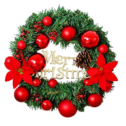 PRETYZOOM Pine Artificial Christmas Wreath Spring Wreaths Garland with Red Berries Flower Pincone Baubles Balls for Xmas Holiday Front Door Indoor Outdoor Decor 30cm
