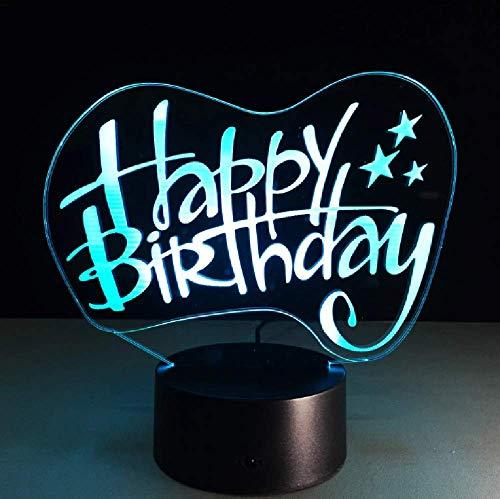 Happy Birthday Led 3D Night Light Touch 7 Cambio De Color Acrílico Altavoz Bluetooth Lámpara De Mesa De Humor Regalos Creativos