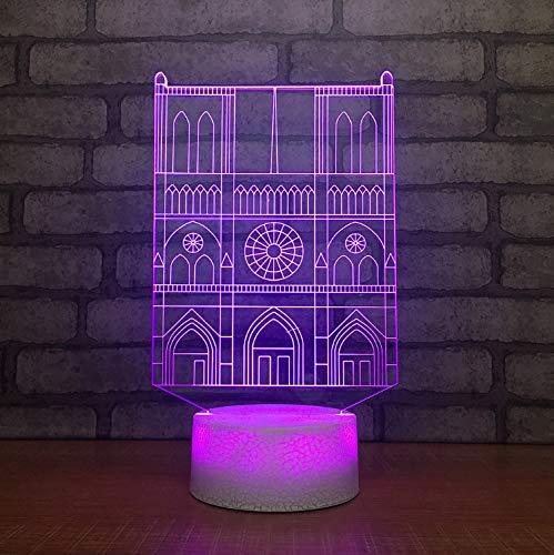 Veilleuse tactile Creative 3D Led Usb7 couleur visuelle Villa Construction modélisation lampe de bureau décoration de la maison sommeil nuit luminaire cadeau