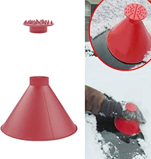 Listeded Ice Scrapers Snow Removal Tool for Car Windshield Magic Funnel Car Round Windshield Cone-Shaped 3 Pack