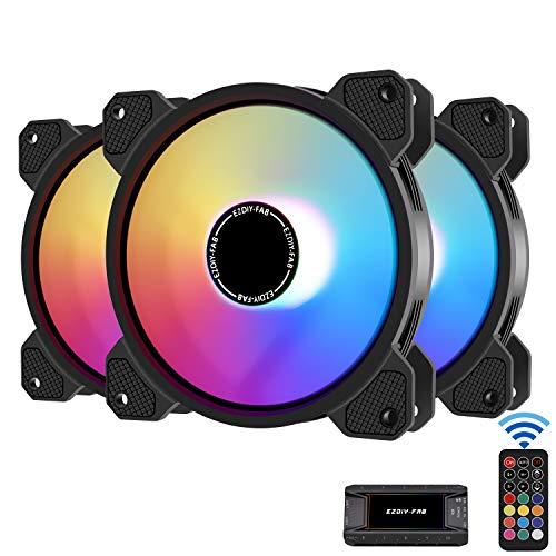 EZDIY-FAB 120mm ARGB Caso Ventilador,Placa Base Aura Sync Ventilador,Alto Flujo de Aire,Ventilador RGB Direccionable con Fan Hub X y Remote-3 Pack