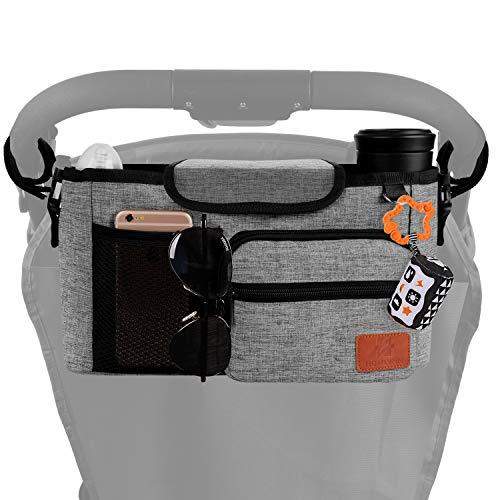 Homlynn Stroller Organizer, Parent Console Storage Bag-2 Deep Cup Holders Extra-Large Storage with Shoulder Strap, Adjustable Handlebar Strips-Fit All Stroller Models(Grey)