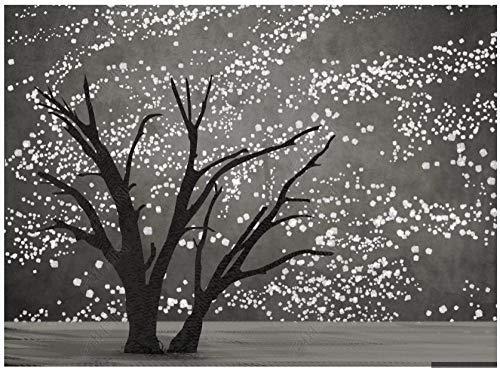 Papel Pintado Pared Papel Pared Arte Estrellado Creativo Árbol Grande Blanco Y Negro Papel Pintado 3D Mural Pared Fotomurales Decorativos Pared Murales 380x256cm