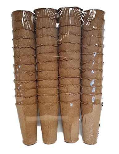 Kingston Tools Extra lange Wurzeltrainingsfasertöpfe, 9 cm hoch, torffrei, biologisch abbaubar, Holzzellstoff, ideal für Samen, Sämlinge und Schneiden, 48 Stück