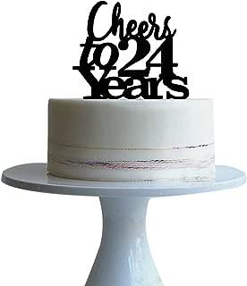 Cheers to 24 years cake topper for 24 years love,wedding anniversary,birthday cake topper Black acrylic btsond