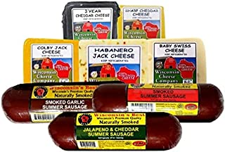 Wisconsin's Best and Wisconsin Cheese Company, Cheese & Sausage Elite Assortment Cheese Gift Basket Sampler (4.6 Lbs.) Per...
