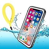 Funda Impermeable iPhone XS iPhone X, IP68 Waterproof Outdoor Delgado Cover a Prueba de choques Anti-rasguños Full Body con Protector de Pantalla Impermeable Funda para iPhone XS X(White with Strap)