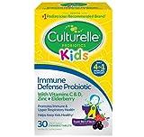Culturelle Kids Immune Defense, Probiotic Vitamin C, Vitamin D and Zinc + Elderberry, Immune Support for Kids*, Mixed Berry Chewables, 30 Count