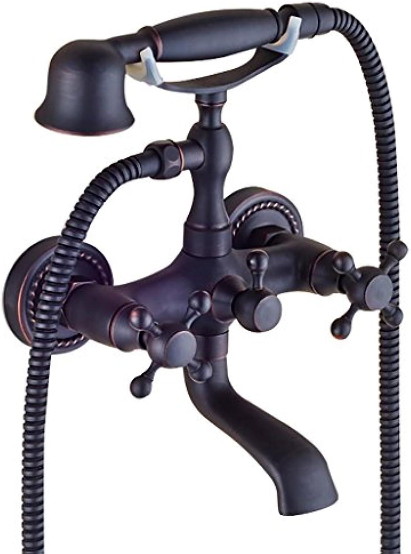 PLYY Retro Wanne und Dusche Handbrause Zwei Griffe Zwei Lcher Bad Dusche Mixer Hahn Set Badewanne Wasserhahn Retro Wand montiert für l-geriebenen Bronze