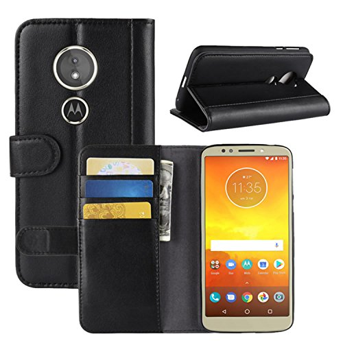 HualuBro Moto G6 Play Hülle, Echt Leder Leather Wallet HandyHülle Tasche Schutzhülle Flip Hülle Cover für Motorola Moto G6 Play Smartphone (Schwarz)