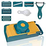 5 interchangeable blades: Slicer, Waffle Slicer, Shredder for thin and thick strips, Julienne & grinding, ideal for firm & soft vegetables & fruits like carrot, potato, apple, lemon, onion, ginger, cheese, cucumber, chips, salads and so on. Extra gif...