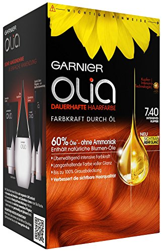 Garnier Olia Haar Coloration Intensives Kupfer 7.4, enthält 60%, 3er Pack (3 x 1 Stück)