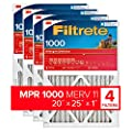 Filtrete 20x25x1, AC Furnace Air Filter, MPR 1000, Micro Allergen Defense, 4-Pack (exact dimensions 19.69 x 24.69 x 0.81)