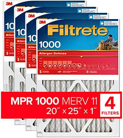 Filtrete 20x25x1 AC Furnace Air Filter MPR 1000 Micro Allergen Defense 4 Pack exact dimensions product image