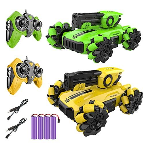 EXTSUD Panzer Tank Ferngesteuert, 2 Teilige Mini RC Tank Auto 2,4 Ghz Battle Auto Panzer Set Stunt Tank Spielzeug mit Schusssimulation Interaktives Spielzeug für Kinder Junge Geburtstag