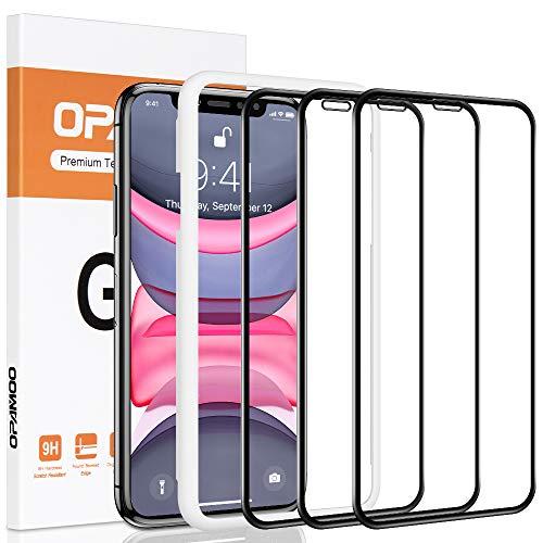 opamoo Vetro Temperato iPhone 11, [3 Pezzi] Pellicola Protettiva per iPhone XR Couverture Complete con Cornice di allineamento 9H Senza Bolle Protezione Schermo per iPhone 11/ XR Film - 6,1Pollice