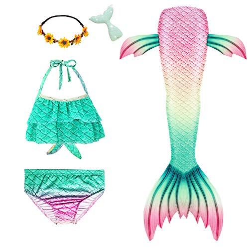 Mskseciy Girls Swimsuit 3Pcs Mermaid Tails for Swimming Costume Party Supplies Swimsuit Swimwear Bikini for 3-12Y (Green Mermaid,4-5 Years