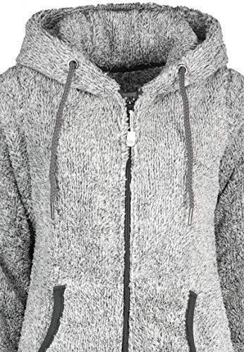 Eight2Nine Damen Jumpsuit aus kuscheligem Teddy Fleece   Overall   Ganzkörperanzug mit Ohren Dark-Grey - 4