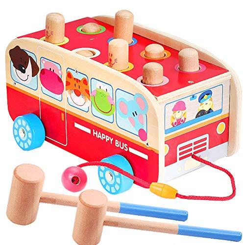 Vanplay Juguetes de Martillo de Madera Golpea Topo Juego Bebe Arrastre Bus de Animales Juguete para Niños 18 Meses
