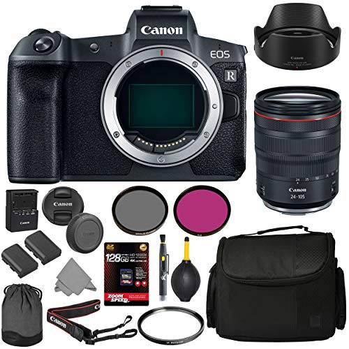 Lowest Prices! Canon EOS R Mirrorless Digital Camera with 24-105mm Lens & AOM 128GB 4K Starter Bundl...