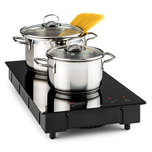 Klarstein VariCook Domino - Double plaque de cuisson, Surface en vitrocéramique, Minuterie réglable, 9 niveaux de puissance, Panneau de commande tactile avec écran LED, noir