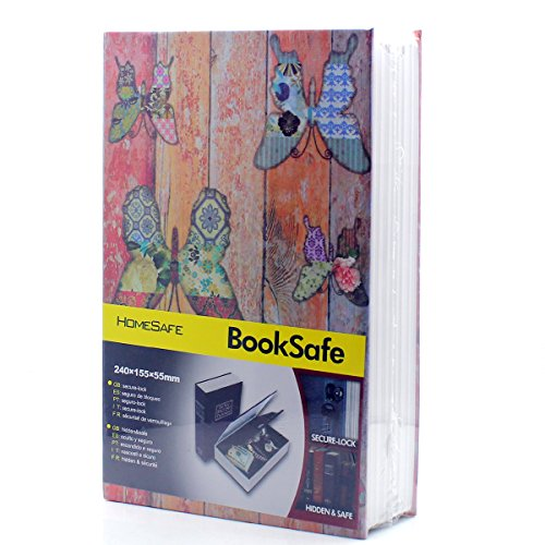 Riipoo(TM) Big Size Book Diversion Hidden Book Safe with Strong Metal Case Inside and Key Lock ( Butterfly,Size: 24015555 MM)