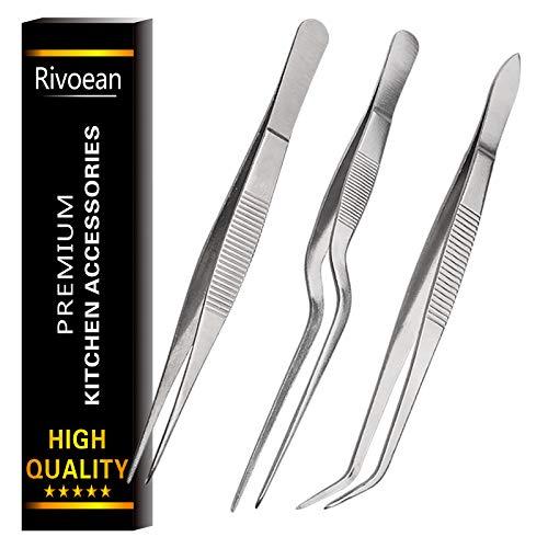 Rivoean - Pinzas de cocina culinarias de acero inoxidable, 3 unidades, punta inclinada de precisión para cocinar alimentos (6.3 pulgadas)