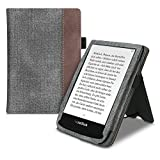 kwmobile Flip Hülle kompatibel mit Pocketbook Touch Lux 4/Lux 5/Touch HD 3/Color (2020) - Handschlaufe - Cover Dunkelgrau Braun