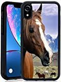 ChyFS Phone Case for iPhone Xr Horse Case Black Protective Case for iPhone Xr.