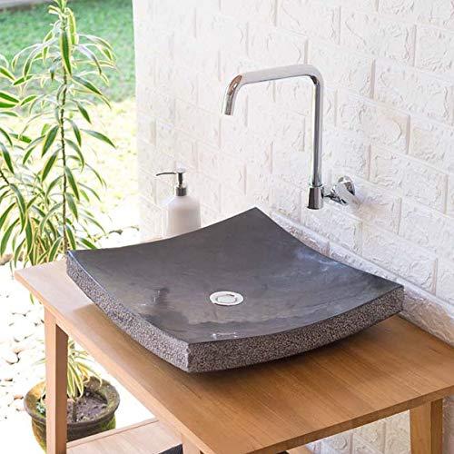 wohnfreuden Naturstein Marmor Waschbecken Zen Waschtisch quadratisch 45 cm anthrazit
