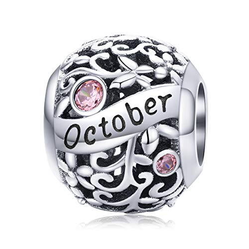 VOROCO Birthstone Charms 925 Sterling Silver Bead Happy Birthday October Charm for Pandora Bracelet Necklace