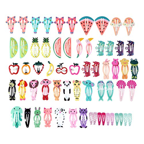 64 Pcs Girls Hair Clips Barrettes Animal Fruit Pattern Metal Snap Hair Pins Cartoon Design Lovely Colorful Hairpins Hair Accessories for Kids Toddlers