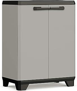 KETER 246638 Armoire Basse Planet-Plastique recyclé, Gris/Noir, Cabinets, 680x390x900 mm, PP