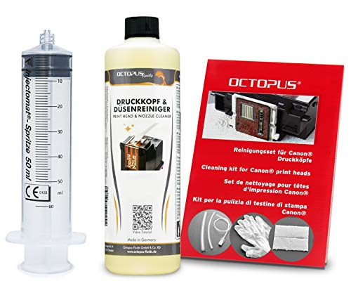 Octopus Düsenreiniger, Druckkopfreiniger kompatibel für Canon Pixma Druckköpfe mit Schlauchadaptern (250 ml)