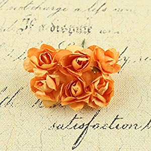 Artificial and Dried Flower Sugar Accessories Rhododendron Paper Flower Wedding Decoration Walnut Accessories Material Sugar Accessories – ( Color: Orange )
