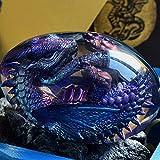 Lava Dragon Egg, Dream Crystal Transparent Dragon Egg, Green Flying Dragon with Lava Base, Crystal Transparent Lava Dragon Egg Resin Handmade Sculpture Ornaments Souvenir.