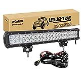 RIGIDON Barra de luz led impermeable, 12V 24V 20 pulgadas 126W y kit de cableado, barras luminosas led para off road...