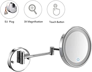 Makeup Mirror, LNDDP 8 Inch Bathroom Mirrors Wall Mounted with 3X Magnification, Touch Screen Folding Vanity Lamp Retractable Swivel Shaving Mirror, Concealed Install for Home, Spa and Hotel