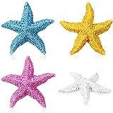 4 estrellas de resina para decoración de acuario, multicolor
