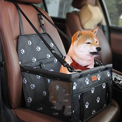 BYGD Bolsa de Transporte para Mascotas, Asiento del Coche de Seguridad para Mascotas Perro Gato Plegable Lavable Viaje Bolsas y Otra Mascota Pequeña con Cremallera Bolsillo[ Paw Pattern] ⭐