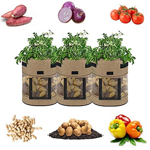 Sac Plantation Pomme de Terre, Sac de Culture de Pommes de Terre Croissance, avec Poignées, pour Planter des Sacs de Plantation de Pommes de Terre/Carottes/Tomates, 3 Pièces.