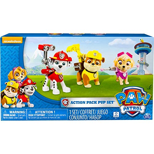 PAW Patrol 6024060-1 Action Pack Pup Figuren 3er Set - Version 1 (Marshall, Rubble, Skye)