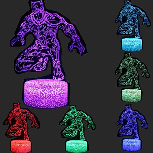 Lámpara de mesa LED 3D de superhéroe con diseño de pantera negra, lámpara de mesa LED de 16 colores para niños, regalo de Navidad, decoración del hogar (pantera negra)