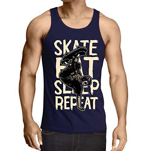 lepni.me Weste Eat-Sleep-Skate-Repeat Fro Skateboard Liebhaber, Skateboarder Geschenke, Skateboarden Kleidung (Medium Blau Mehrfarben)
