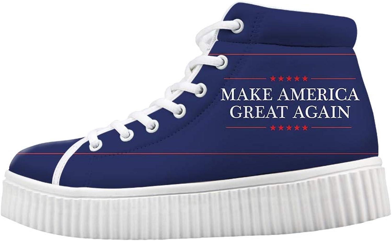 Ohaheson Platform Lace up skor Casual Casual Casual Chunky gående skor High kvinnor Make America Great Igen President Slogan  bästa försäljningen