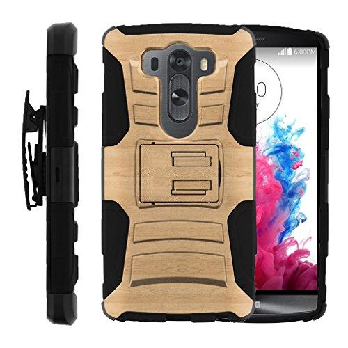 TurtleArmor   Compatible with LG V10 Case   LG G4 Pro Case [Hyper Shock] Hybrid Dual Layer Armor Holster Belt Clip Case Kickstand - Maple Wood