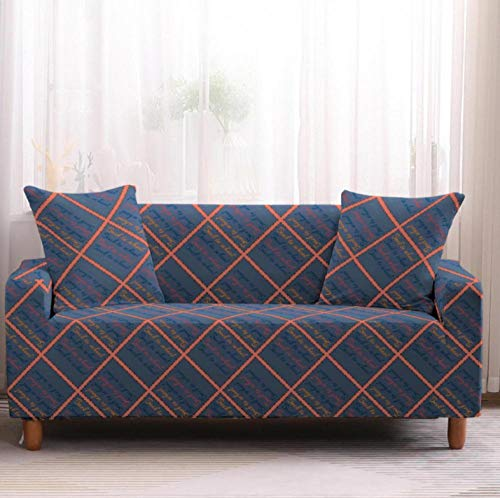 Funda de sofá de 4 Plazas Funda Elástica para Sofá Poliéster Suave Sofá Funda sofá Antideslizante Protector Cubierta de Muebles Elástica Patrón de Cuadros Azul Funda de sofá
